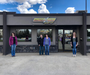 Pictured from left are Autoexotic Trim and Signs production manager Allison Nurcombe-Richardson, owners Albert and Roxanne Peters, and installer Shelby Friesen.