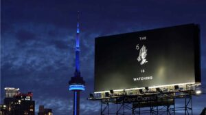 Drake's 2015 billboard displaying a cryptic message– located aside the Gardiner Expressway in Toronto.